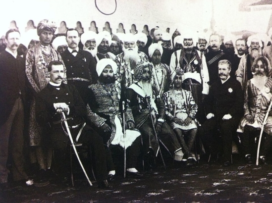 Sir Charles Aitchison with Maharajas at the foundation ceremony of Aitchison College